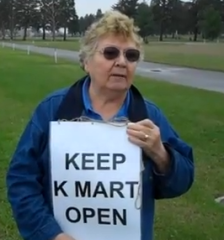 marge hames protesting kmart closure
