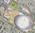 rendering of vikings stadium near metrodome