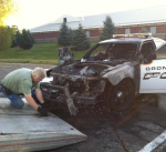 Police car burned in Orona