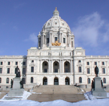 Minnesota Capitol with snow