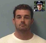 Ryan Michael Larson booking photo (inset -- Cold Spring Officer Tom Decker)