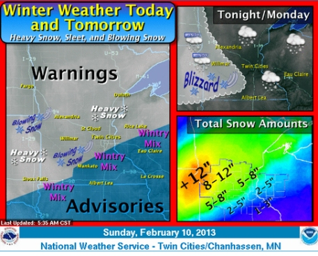 National Weather Service winter storm graphic 2-10-13