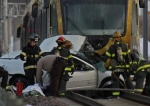 Light-rail train-car collission (photo -- Star Tribune)