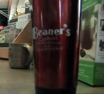 Beaner's coffee travel mug (screengrab -- Northland's NewsCenter)