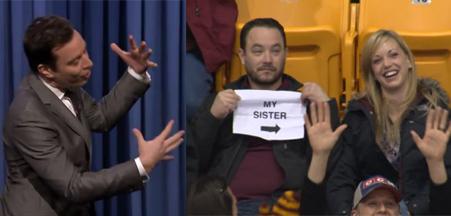 Jimmy Fallon and Kiss Cam video screengrab (photos -- NBC, YouTube)