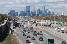 minneapolis commute highway skyline green