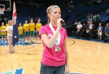 Molly Kate Kestner performs the national anthem before the Lynx game Monday (photo: Minnesota Lynx).