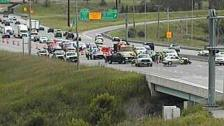 A crash on I-35W near Burnsville on June 22, 2014. Two MnDOT workers were injured.