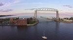 duluth lift bridge by drone