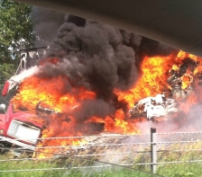 I35W fiery crash wreck owatonna twitter photo