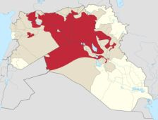 Red: Controlled by ISIS. Brown: Claimed by ISIS. Yellow: Rest of Syria and Iraq