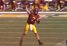 mitch leidner mid-throw against middle tennessee from youtube highlight vid
