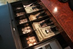 cash drawer money bank sales green