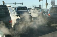 Exhaust fumes from cars in traffic