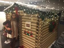 Angela Westfield with her log cabin office cubicle at the W Minneapolis.
