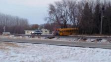 A school bus and train collided near Larimore, N.D. on Jan. 5, 2015.