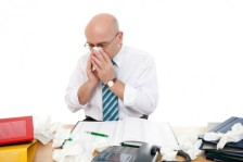 Sick man in the office