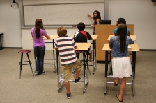 Students at standing desks