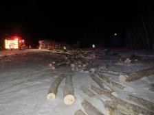 log truck semi rollover 02-25-2015