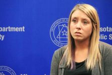 Kayla Dyals speaks about the dangers of distracted driving at a news conference Feb. 9, 2015 in St. Paul.