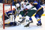 Wild take Game 1 of the Western Conference quarterfinals in St. Louis.