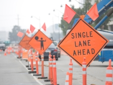 iStock OK TO REUSE _road-construction-single-lane-sign