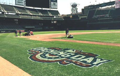 The field is prepared for the Twins home opener at Target Field on April 13, 2015.