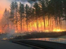 A wildfire near Warroad, Minn., on April 15, 2015.