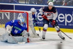 OSTRAVA, CZECH REPUBLIC - MAY 10:  Brock Nelson (R) of USA in action in front of Robert Kristan (L), goalkeeper of Slovenia, during the IIHF World Championship group B match between Slovenia and USA at CEZ Arena on May 10, 2015 in Ostrava, Czech Republic.  (Photo by Matej Divizna/Getty Images)