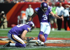 TAMPA, FL - OCTOBER 26: Kicker Blair Walsh #3 of the Minnesota Vikings kicks a field goal as punter Jeff Locke #18 of the Minnesota Vikings holds against the Tampa Bay Buccaneers of the Minnesota Vikings at Raymond James Stadium on October 26, 2014 in Tampa, Florida. (Photo by Cliff McBride/Getty Images)