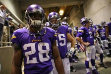 MINNEAPOLIS, MN - NOVEMBER 7: Adrian Peterson #28 of the Minnesota Vikings waits before taking the field against the Washington Redskins on November 7, 2013 at Mall of America Field at the Hubert Humphrey Metrodome in Minneapolis, Minnesota. (Photo by Adam Bettcher/Getty Images)