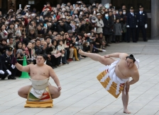 TOKYO - JANUARY 06:  Sumo Grand Champion Asashoryu (R) performs 'Dohyo-iri' (ring purification ritual) at the Meiji Jingu Shrine on January 6, 2010 in Tokyo, Japan. It is the custom that Sumo Grand Champions celebrate the new year by performing the ritual at the Meiji Jingu Shrine.  (Photo by Junko Kimura/Getty Images)