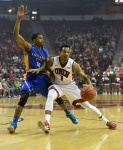 LAS VEGAS, NV - JANUARY 10:  Rashad Vaughn #1 of the UNLV Rebels drives against Isaac Thornton #20 of the San Jose State Spartans during their game at the Thomas & Mack Center on January 10, 2015 in Las Vegas, Nevada. UNLV won 74-40.  (Photo by Ethan Miller/Getty Images)