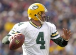 Packers quarterback Brett Favre in the pocket during game between the Green Bay Packers and the Buffalo Bills at Ralph Wilson Stadium in Orchard Park, New York on November 5, 2006.  Buffalo won 24-10. (Photo by Mark Konezny/NFLPhotoLibrary)