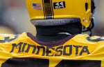 MINNEAPOLIS, MN - NOVEMBER 15: The jersey and helmet of Jon Christenson #63 of the Minnesota Golden Gophers are seen during the third quarter of the game against the Ohio State Buckeyes on November 15, 2014 at TCF Bank Stadium in Minneapolis, Minnesota. The Buckeyes defeated the Golden Gophers 31-24. (Photo by Hannah Foslien/Getty Images)