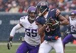 CHICAGO, IL - NOVEMBER 16:  Anthony Barr #55 of the Minnesota Vikings tries to tackle Dante Rosario #88 of the Chicago Bears during the first half of a game at Soldier Field on November 16, 2014 in Chicago, Illinois. The Bears defeated the Vikings 21-13. (Photo by Jonathan Daniel/Getty Images)