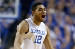 LEXINGTON, KY - DECEMBER 05:  Karl-Anthony Towns #12 of the Kentucky Wildcats celebrates during the game against the Texas Longhorns at Rupp Arena on December 5, 2014 in Lexington, Kentucky.  (Photo by Andy Lyons/Getty Images)