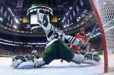 BOSTON, MA - APRIL 09:  Evan Rodrigues #17 of the Boston University Terriers takes a shot against Zane McIntyre #31 of the North Dakota during the third period of the 2015 NCAA Division I Men's Hockey Championship semifinals at TD Garden on April 9, 2015 in Boston, Massachusetts.The Boston University Terriers defeat North Dakota 5-3.  (Photo by Maddie Meyer/Getty Images)
