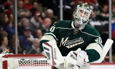 ST PAUL, MN - APRIL 22:  Devan Dubnyk #40 of the Minnesota Wild looks on during a break in the second period in Game Four of the Western Conference Quarterfinals against the St. Louis Blues during the 2015 NHL Stanley Cup Playoffs on April 22, 2015 at Xcel Energy Center in St Paul, Minnesota. (Photo by Hannah Foslien/Getty Images)