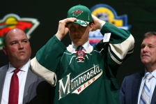 SUNRISE, FL - JUNE 26:  Joel Eriksson Ek poses after being selected 20th overall by the Minnesota Wild in the first round of the 2015 NHL Draft at BB&T Center on June 26, 2015 in Sunrise, Florida.  (Photo by Bruce Bennett/Getty Images)