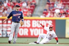 CINCINNATI, OH - JUNE 29: Billy Hamilton #6 of the Cincinnati Reds steals second base in the second inning against the Minnesota Twins at Great American Ball Park on June 29, 2015 in Cincinnati, Ohio. (Photo by Joe Robbins/Getty Images)