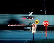 train crossing night