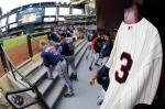 PHOENIX - MAY 20:  The jersey of long time twins player Harmon Killebrew hangs in the Twins dugout during the game against the Arizona Diamondbacks at Chase Field on May 20, 2011 in Phoenix, Arizona.  (Photo by Norm Hall/Getty Images)