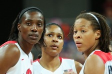 LONDON, ENGLAND - JULY 28:  Sylvia Fowles #13 of United States, Maya Moore #7 of United States and Seimone Augustus #5 of United States talk while playing against Croatia in the first half during Women's Basketball on Day 1 of the London 2012 Olympic Games at the Basketball Arena on July 28, 2012 in London, England.  (Photo by Christian Petersen/Getty Images)
