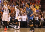 PHOENIX, AZ - JULY 19:   Western Conference All-Star Maya Moore #23 of the Minnesota Lynx reacts after a three point shot during the WNBA All-Star Game at US Airways Center on July 19, 2014 in Phoenix, Arizona.  The East defeated the West 125-124 in overtime.  (Photo by Christian Petersen/Getty Images)