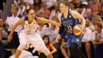 PHOENIX, AZ - SEPTEMBER 02:  Lindsay Whalen #13 of the Minnesota Lynx drives the ball past Diana Taurasi #3 of the Phoenix Mercury during game three of the WNBA Western Conference Finals at US Airways Center on September 2, 2014 in Phoenix, Arizona.  The Mercury defeated the Lynx 96-78.  NOTE TO USER: User expressly acknowledges and agrees that, by downloading and or using this photograph, User is consenting to the terms and conditions of the Getty Images License Agreement.  (Photo by Christian Petersen/Getty Images)