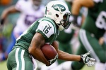 EAST RUTHERFORD, NJ - OCTOBER 26:   Percy Harvin #16 of the New York Jets runs after making a catch in the second quarter against the Buffalo Bills at MetLife Stadium on October 26, 2014 in East Rutherford, New Jersey.  (Photo by Al Bello/Getty Images)
