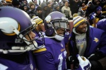 MINNEAPOLIS, MN - DECEMBER 7: (C) Jarius Wright #17 of the Minnesota Vikings celebrates a game winning touchdown against the New York Jets in overtime of the game on December 7, 2014 at TCF Bank Stadium in Minneapolis, Minnesota. The Vikings defeated the Jets 30-24. (Photo by Hannah Foslien/Getty Images)