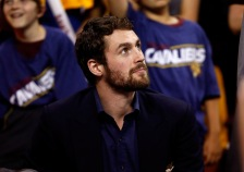 CLEVELAND, OH - MAY 26: Kevin Love #0 of the Cleveland Cavaliers looks on late in the game against the Atlanta Hawks during Game Four of the Eastern Conference Finals of the 2015 NBA Playoffs at Quicken Loans Arena on May 26, 2015 in Cleveland, Ohio. NOTE TO USER: User expressly acknowledges and agrees that, by downloading and or using this Photograph, user is consenting to the terms and conditions of the Getty Images License Agreement.  (Photo by Gregory Shamus/Getty Images)