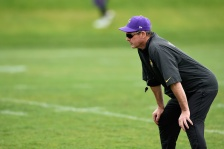EDEN PRAIRIE, MN - JUNE 4: Head coach Mike Zimmer of the Minnesota Vikings looks on during practice on June 4, 2015 at Winter Park in Eden Prairie, Minnesota. (Photo by Hannah Foslien/Getty Images)